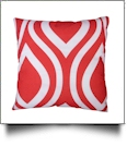 Throw Pillow Cover in Wavy Print - RED - CLOSEOUT