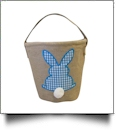 Burlap Easter Basket Tote With Applique Gingham Bunny - BLUE - CLOSEOU