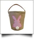 Burlap Easter Basket Tote With Applique Gingham Bunny - PINK