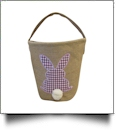 Burlap Easter Basket Tote With Applique Gingham Bunny - PURPLE - CLOSEOUT