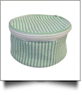 Seersucker Round Jewelry Case Embroidery Blanks - GREEN - IRREGULAR