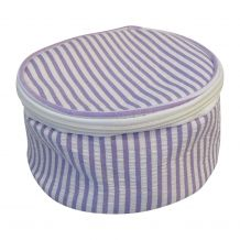 Seersucker Round Jewelry Case Embroidery Blanks - PURPLE - CLOSEOUT