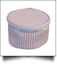 Seersucker Round Jewelry Case Embroidery Blanks - PINK - CLOSEOUT