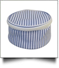 Seersucker Round Jewelry Case Embroidery Blanks - BLUE