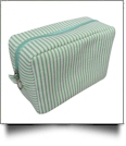 The Coral Palms™ Simply Seersucker Cosmetic Bag - MINT