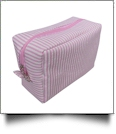 The Coral Palms™ Simply Seersucker Cosmetic Bag - PINK