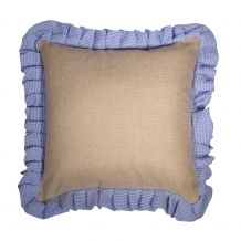 """16"""" Jute Farmhouse Throw Pillow Cover with Gingham Plaid Ruffle - LIGHT BLUE - CLOSEOUT"""
