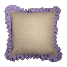 """16"""" Jute Farmhouse Throw Pillow Cover with Gingham Plaid Ruffle - LAVENDER - CLOSEOUT"""