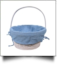 Gingham Easter Basket Liner With Side Ties - TURQUOISE
