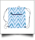 Chevron Ikat Print Gym Bag Drawstring Pack Embroidery Blanks - BLUE - CLOSEOUT