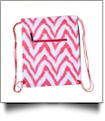 Chevron Ikat Print Gym Bag Drawstring Pack Embroidery Blanks - RED - CLOSEOUT