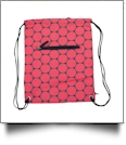 Jumbo Dots Print Gym Bag Drawstring Pack Embroidery Blanks - BLACK/RED - CLOSEOUT