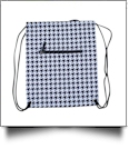 Houndstooth Print Gym Bag Drawstring Pack Embroidery Blanks - BLACK/WHITE