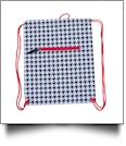 Houndstooth Print Gym Bag Drawstring Pack Embroidery Blanks - RED TRIM - CLOSEOUT