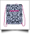 Damask Print Gym Bag Drawstring Pack Embroidery Blanks - HOT PINK TRIM