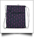 Pink Ribbon Print Gym Bag Drawstring Pack Embroidery Blanks - BLACK