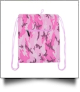 Camo Print Gym Bag Drawstring Pack Embroidery Blanks - PINK - CLOSEOUT