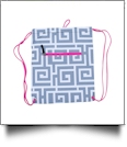Greek Key Print Gym Bag Drawstring Pack Embroidery Blanks - GRAY/HOT PINK