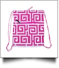 Greek Key Print Gym Bag Drawstring Pack Embroidery Blanks - HOT PINK/WHITE