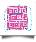 Greek Key Print Gym Bag Drawstring Pack Embroidery Blanks - HOT PINK/TURQUOISE TRIM