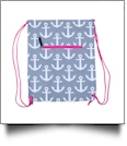 Anchor Print Gym Bag Drawstring Pack Embroidery Blanks - GRAY/HOT PINK TRIM
