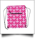 Anchor Print Gym Bag Drawstring Pack Embroidery Blanks - HOT PINK/BLACK TRIM