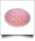 "The Coral Palms® Premium Weight 60"" Round Fringed Beach Towel - So Zebralicious Collection - CLOSEOUT"