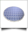 "The Coral Palms® Premium Weight 60"" Round Fringed Beach Towel - Blue Ikat Ogee Collection - CLOSEOUT"