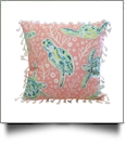 "The Coral Palms® 16"" Tassel Premium Canvas Throw Pillow Cover - Solely Sea Turtles Collection"