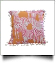 "The Coral Palms® 16"" Tassel Premium Canvas Throw Pillow Cover - So Zebralicious Collection"