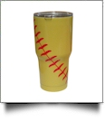 30oz Double Wall Stainless Steel Super Tumbler - SINGLE LACE SOFTBALL