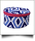The Coral Palms® Round Jewelry Case Embroidery Blanks - Blue Ikat Ogee Collection