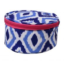The Coral Palms® Round Jewelry Case Embroidery Blanks - Blue Ikat Ogee Collection - CLOSEOUT