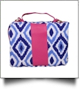 The Coral Palms® Crossbody Bible Cover Tote with Zipper Closure - Blue Ikat Ogee Collection
