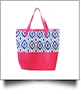 The Coral Palms® Jumbo Tote Bag Embroidery Blanks - Blue Ikat Ogee Collection