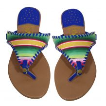 The Coral Palms� EasyStitch Celia T-Strap Sandal with Royal Blue Accents