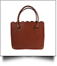 The Coral Palms® Premium Scalloped Faux Leather Purse - SADDLE BROWN