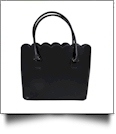 The Coral Palms® Premium Scalloped Faux Leather Purse - RAVEN BLACK