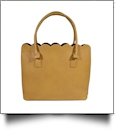 The Coral Palms® Premium Scalloped Faux Leather Purse - BUTTERSCOTCH