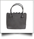 The Coral Palms® Premium Scalloped Faux Leather Purse - SMOKE GRAY - CLOSEOUT