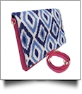 The Coral Palms® Crossbody Convertible Clutch Purse - Blue Ikat Ogee Collection