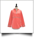 The Coral Palms� Tunic-Style UltraLite Pullover Packable Rain Jacket - CORAL