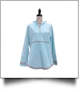 The Coral Palms® Tunic-Style UltraLite Pullover Packable Rain Jacket - AQUA