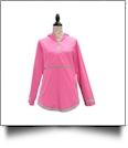 The Coral Palms� Tunic-Style UltraLite Pullover Packable Rain Jacket - PINK