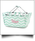 Foldable Market Tote Embroidery Blanks - MINT CHEVRON