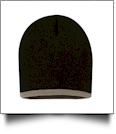 "8"" Knit Beanie with Striped Bottom Embroidery Blanks - BLACK/TAUPE"