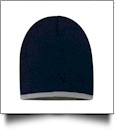 "8"" Knit Beanie with Striped Bottom Embroidery Blanks - NAVY/GRAY"