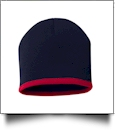 "8"" Knit Beanie with Striped Bottom Embroidery Blanks - NAVY/RED"