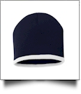 "8"" Knit Beanie with Striped Bottom Embroidery Blanks - NAVY/WHITE"