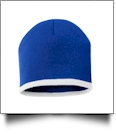 "8"" Knit Beanie with Striped Bottom Embroidery Blanks - ROYAL/WHITE"